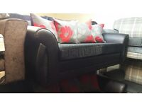 THE SHANNON 3+2 HAND MADE SOFA IN RED GREY FLORAL FABRIC WITH BODY IN PU BLACK £399