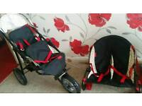Dolls double buggy and bouncer