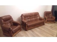 Leather 3 Seater Sofa and Armchairs