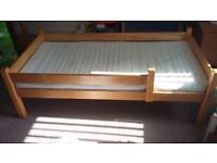 solid pine kids bed with mattress