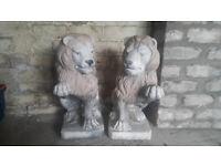 Henri Studio Pair of hand sculpted cast stone lions