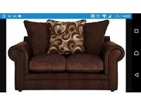 Designer modern 3 seater 2 seater sofa with cushions almost new house move forces sale brown fabric