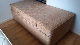 SINGLE DIVAN BED AND MATTRESS AND DRAWERS UNDERNEATH