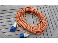 25 M EXTENSION LEAD WITH THREE ROUND PINS for camp sites