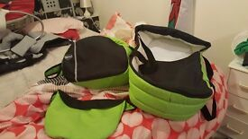 Lime green pram stroller like new with matching accessories
