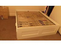 IKEA BRIMNES Euro King Size Bed Frame with Four Storage Drawers