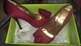 Size 5 red satin Ted Baker heels
