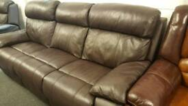Real leather dark brown electric reclining 3+2 seater sofa