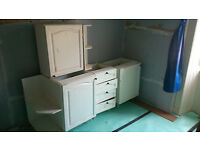 2 floor units, 1 w/ corner shelves; 1 drawer unit; 1 wall unit w/ corner shelves