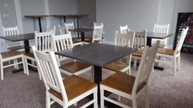 Stylish painted pine chairs with beech seats. Suit pub, cafe, restaurant.