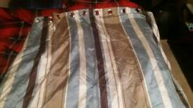 """90"""" x 90"""" ring top striped pair curtains."""