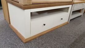 Burford 2 Drawer Storage Coffee Table in Cream & Oak Effect Can Deliver
