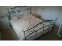 'wrought iron' effect metal framed king size bed with mattress