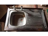 Kitchen Sink with taps overhang style