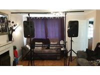 Complete DJ set up - Newmark HD mixing console, powered speakers, stand, lights, leads, mics