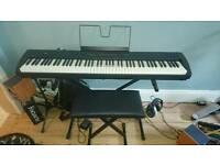 Korg sp200 digital piano plus stand, custom flight case and stool.