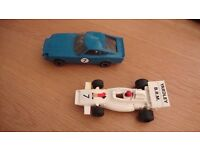 SCALEXTRIC CARS AND EXTRA BITS AND BOBS