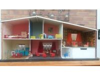 1960s dolls house with furniture