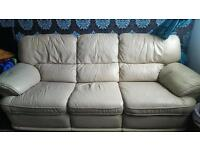 3 seat cream leather sofa