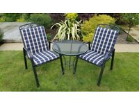 Kettler garden bistro table and 2 chairs with cushions