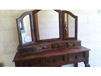 """DRESSING TABLE WITH DRAWERS-W-47"""" D15"""" H-32"""" TRIPLE MIRROR WITH DRAWERS..NO OFFERS AS BARGAIN"""