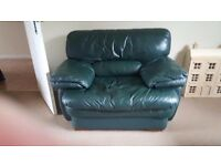 Leather Suite , sofa with two chairs.