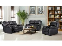 Brand new boxed Vancouver 3 seater plus 2 seater reclining sofas in black leather