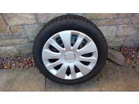 Winter tyres on steel wheels.