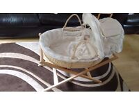 Mamas and Papas Once Upon a Time Moses Basket with oak stand