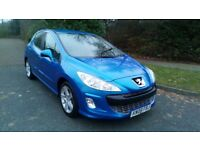 PEUGEOT 308 1.6 VTI SPORT 5 DOOR 08 REG IN BLUE WITH BLACK TRIM,SERVICE HISTORY AND MOT JAN 2019