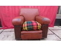 genuine vintage brown leather armchair ( and sofa)