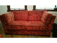 Red and brown fabric sofas (3and2)