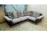 Excellent condition brown & cream corner sofa. Can deliver.