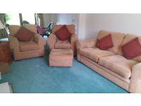 Sofa Suite, 3-Seater Sofa, 2 Armchairs, Footstool