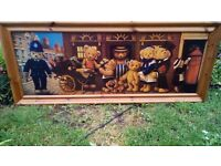 Large solid pine frame teddy bear picture