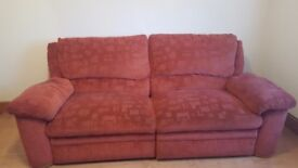 Terracotta 3 seater recliner and 2 seater sofa would need collected.