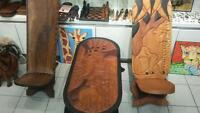 Hand Crafted African Magohany Table and Chief Chairs.