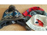 Boys selection of winter and summer hats age 2 upwards