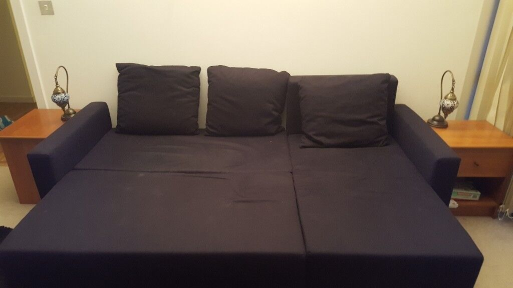 IKEA Sofa Bed LUGNVIK Black in good condition with chaise longue
