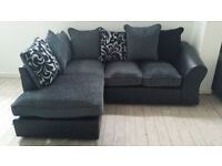 NEW Graded Grey and Black Jumbo Cord Fabric Corner Sofa Suite FREE LOCAL DELIVERY