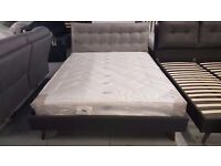 DESIGNER KING SIZE GREY FABRIC BED WITH CUSHIONED HEADBOARD & ORTHOPEADIC MATTRESS