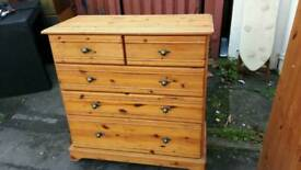 Solid Pine 5 Drawer Chest of Drawers