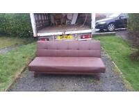 Brown leather sofa bed £65 delivered free within belfast
