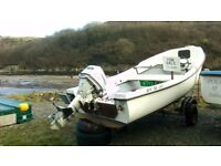 17' GRP boat with 10HP Honda outboard and trailer, well maintained