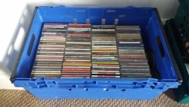 Joblot Crate of CDs / Compact Discs. Various Artists & Genres. Albums & Singles + stack of loose CDs