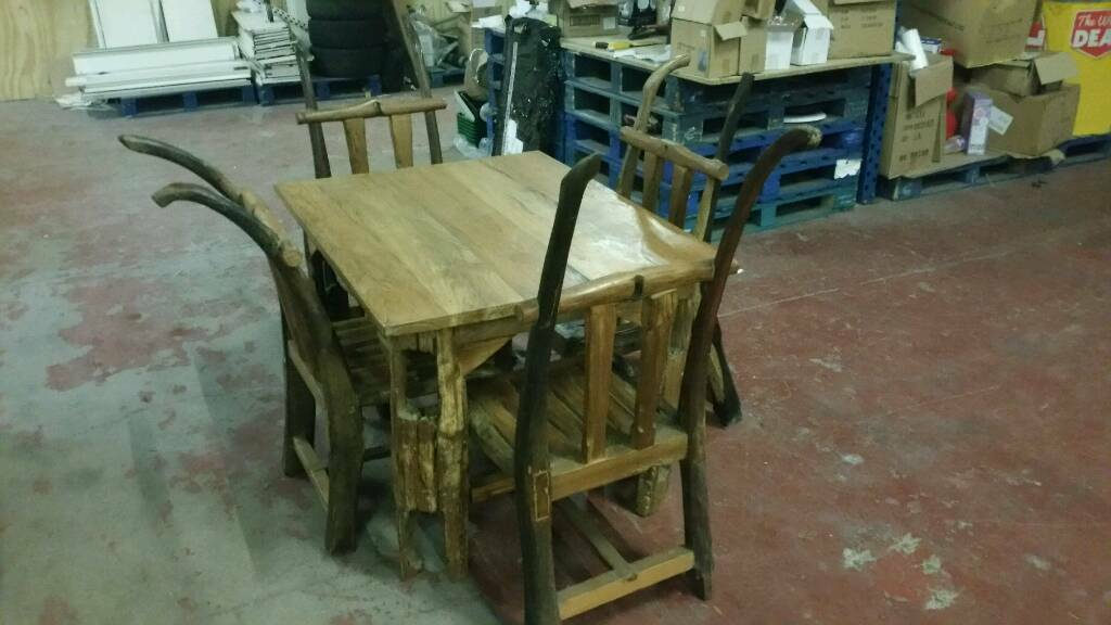 Handcrafted Wooden Dining Kitchen Breakfast Table with 4 Chairs Quality Hand Carved Unique Furniture