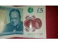 £5 Note. Serial number AA01 012757