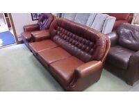 Chesterfield Lookalike Three-seater Sofa and Armchair in Good Condition