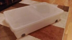 """White clear plastic underbed storage box with """"snap-on"""" lid"""