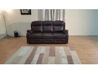 Ex-display P.K Boston brown leather 3 seater sofa